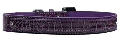 18mm  Two Tier Faux Croc Collar Purple Medium