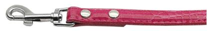 18mm  Two Tier Faux Croc Collar Pink 12IN Leash