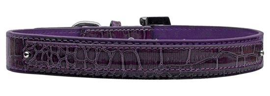 18mm  Two Tier Faux Croc Collar Purple Large