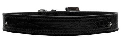 18mm  Two Tier Faux Croc Collar Black Medium