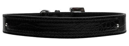 18mm  Two Tier Faux Croc Collar Black Medium