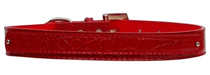 18mm  Two Tier Faux Croc Collar Red Medium