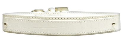 18mm  Two Tier Faux Croc Collar White Medium