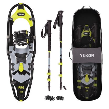 YUKON Pro Series Showshoe Kit 9IN x 30IN BlackLime Green 250lbs Weight Capacity wSnowshoes, Poles  and amp; Travel Bag