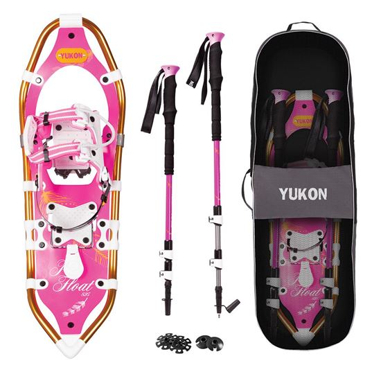 YUKON Women and -39;s Pro Float Series Snowshoe Kit 8IN x 25IN - Pink - 200lbs Weight Capacity wSnowshoes, Poles  and amp; Travel Bag