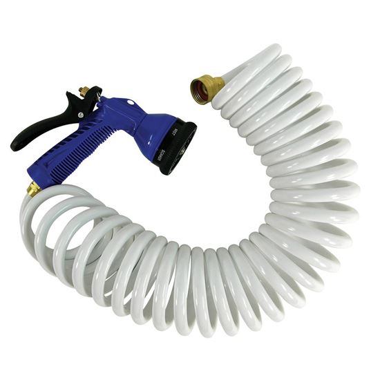15 and -39; White Coiled Hose wAdjustable Nozzle